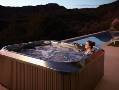 Sunset over our Jacuzzi hot tubs in Cornwall