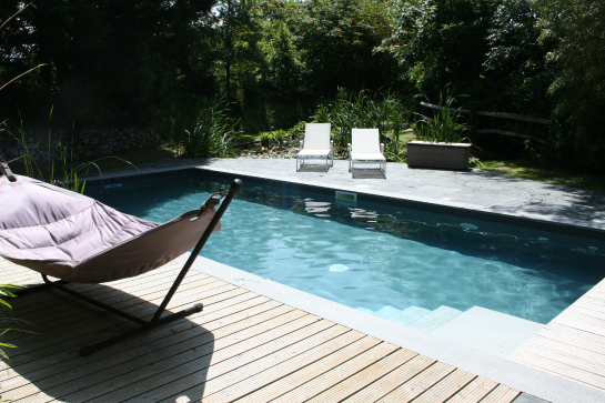 Square pool with decking surround