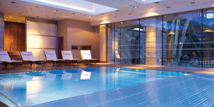 indoor pool with lights